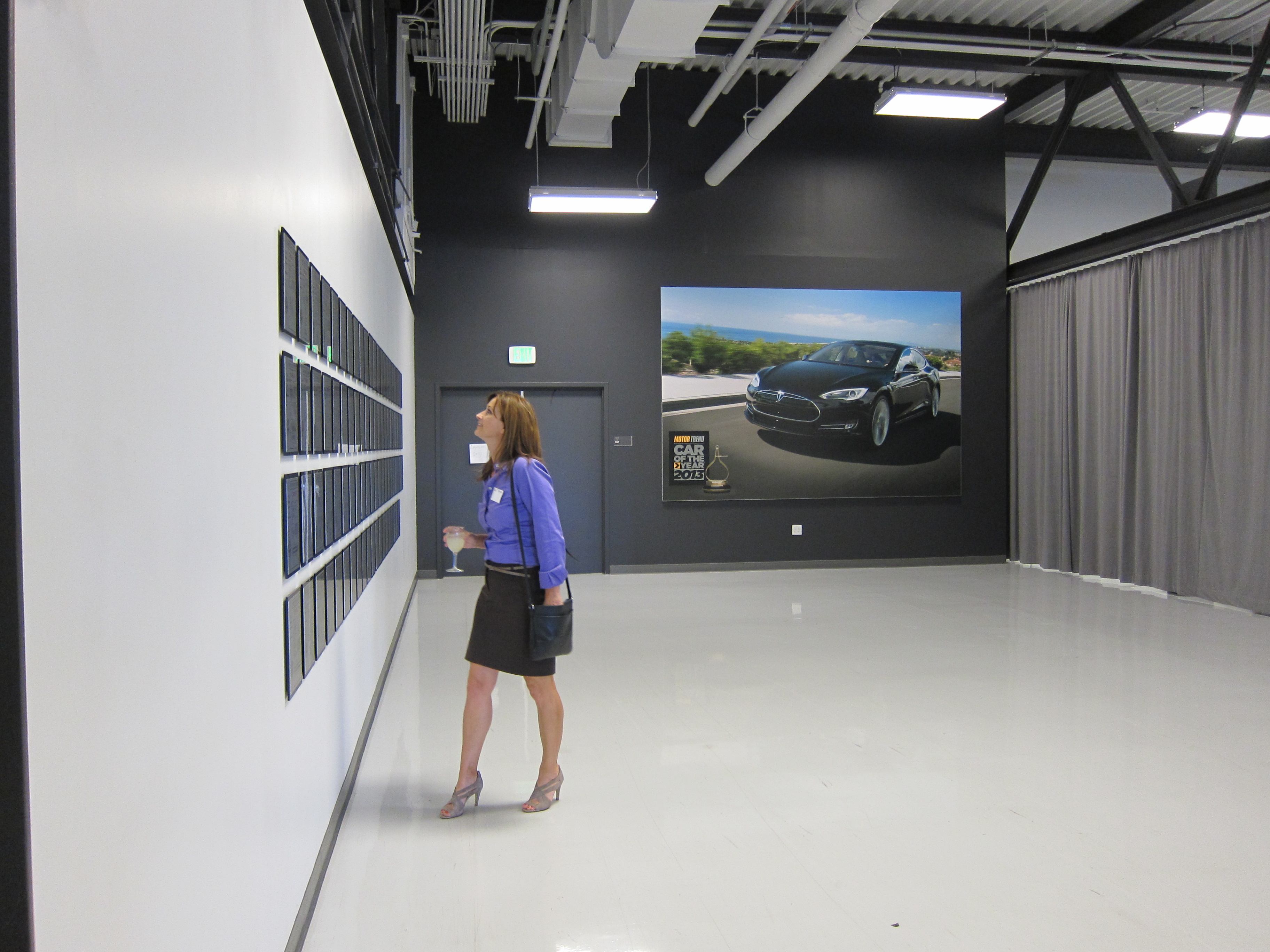 Cheryl Ryan inspects Tesla's patent wall at Tesla HQ, Fresh Dialogues interviews