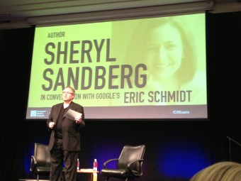 John Hollar makes humorous introductions  at the Sandberg/Schmidt event. Photo: Fresh Dialogues