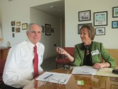 Alison van Diggelen interviews San Jose Mayor, Chuck Reed for a KQED assignment, City Hall 2013