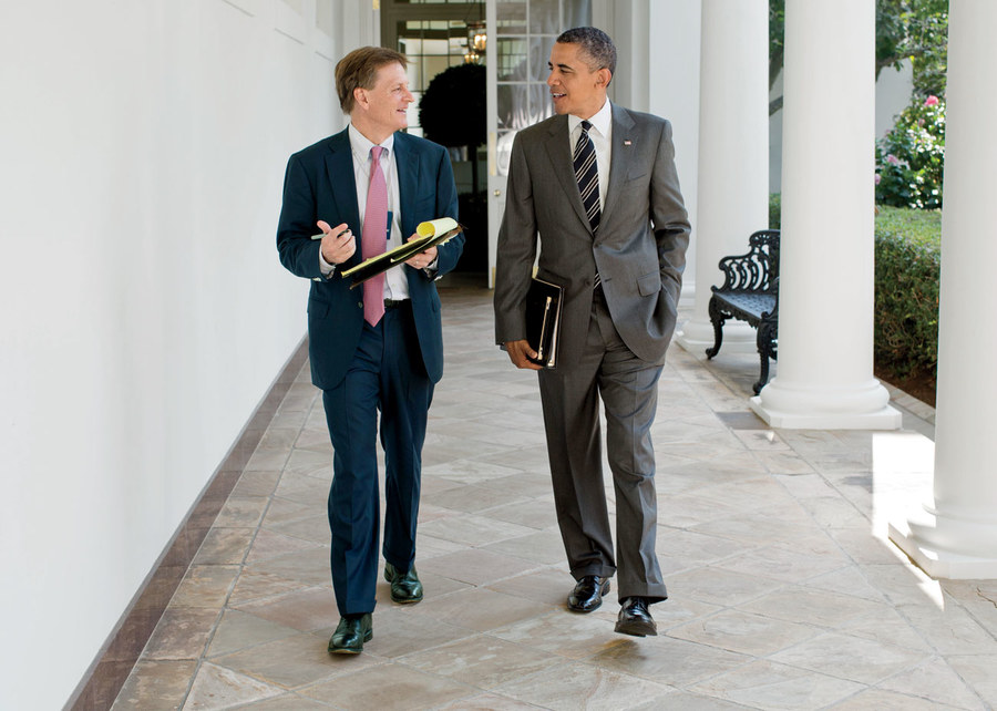 Michael Lewis with Barack Obama, Photo credit: Vanity Fair