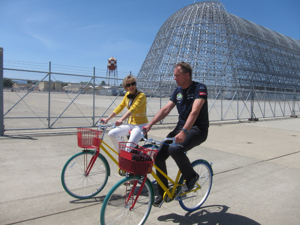 Andre Borschberg & Alison van Diggelen Hangar One Moffett Field for BBC, Photo by Fresh Dialogues