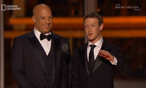 Vin Diesel, Mark Zuckerberg at Breakthrough Prize 2016