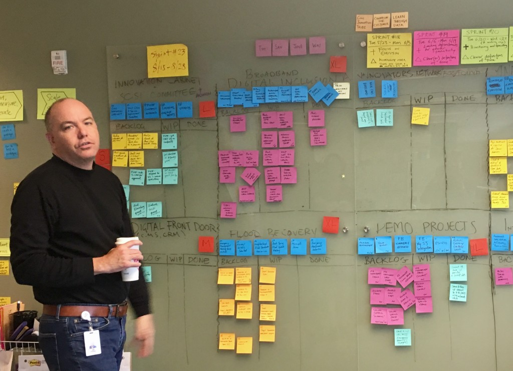 Kip Harkness in scrum meeting SJ City Hall. Photo by Alison van Diggelen, Fresh Dialogues