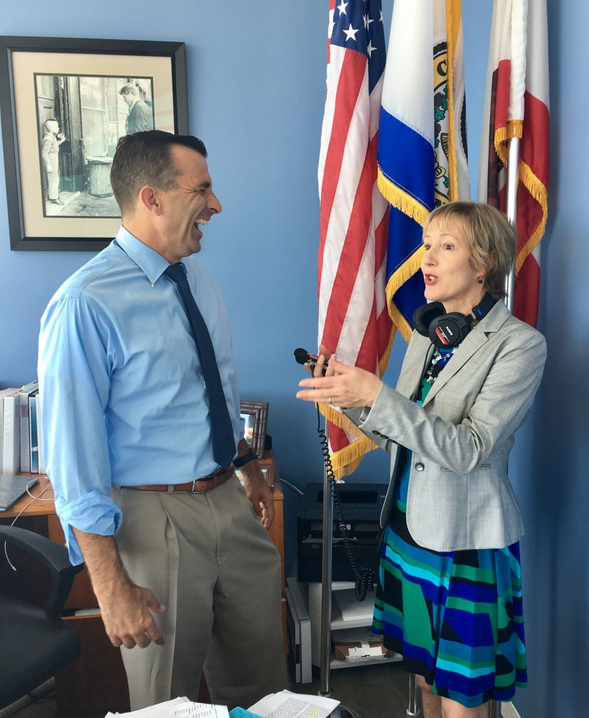 San Jose Mayor Sam Liccardo interview w Alison van Diggelen. Photo by Fresh Dialogues