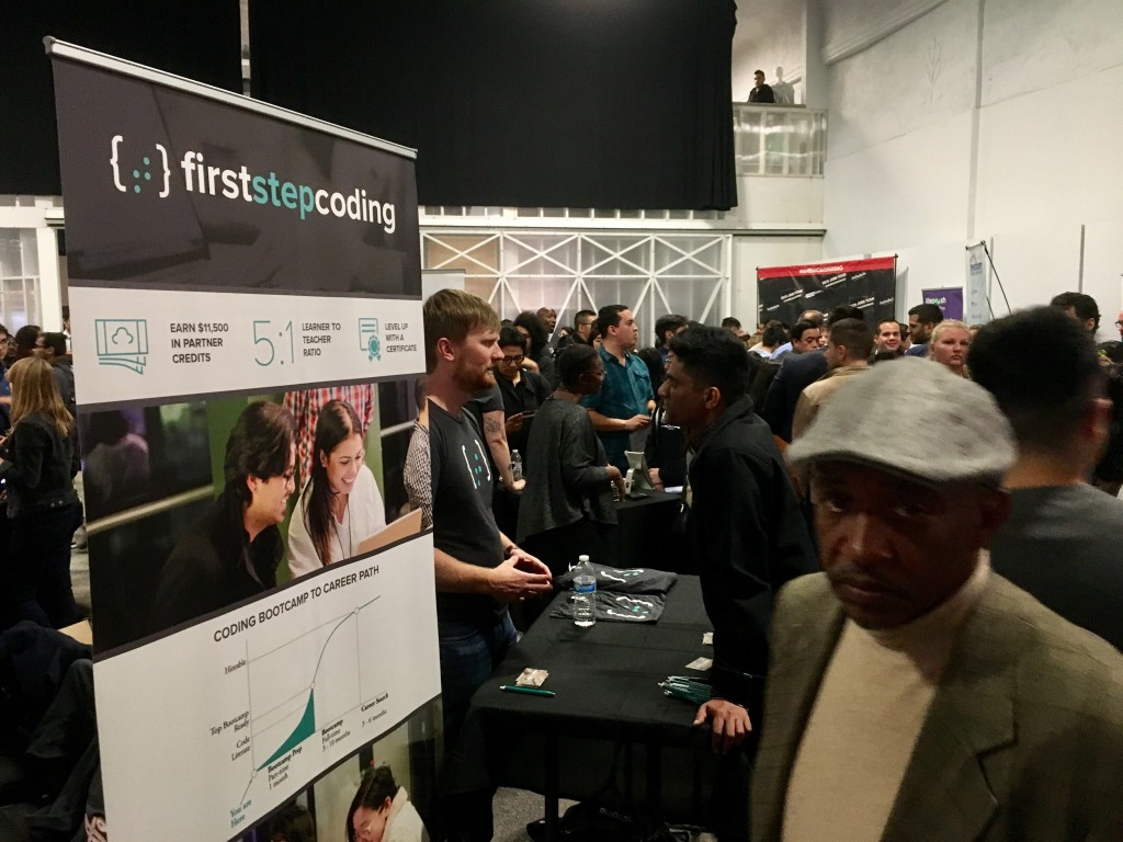 Stride Center instructor, Willie Lockett at Tech Jobs Tour, SF. Photo by Alison van Diggelen, Fresh Dialogues
