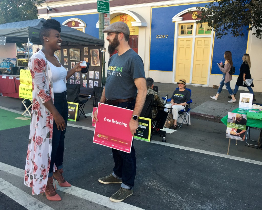 Jessica Anderson talks with Sidewalk Talk's Aaron Culich in Oakland, photo by Alison van Diggelen:Fresh Dialogues